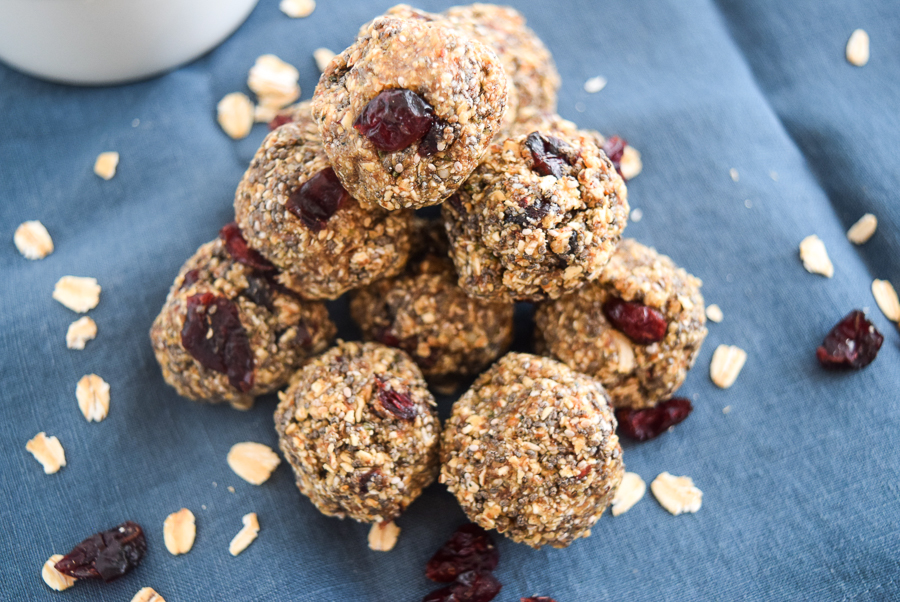These No Bake Peanut Butter Cherry Trail mix Bites are the perfect, vegan, gluten free quick snack option for pre/post workouts and for kids