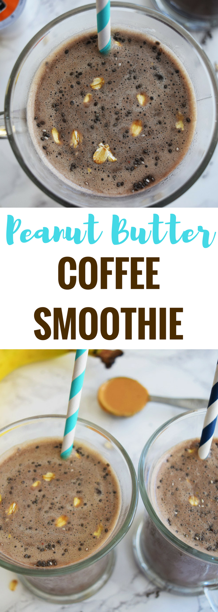 A delicious combination of peanut butter, chocolate, banana and coffee for a refreshing morning smoothie with a punch of energy!