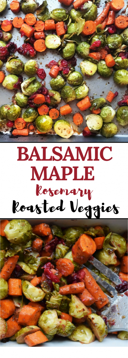 These Balsamic Maple Rosemary Roasted Veggies are full of flavor and come together quickly. Perfect for a weeknight meal addition, or to impress your holiday guests.