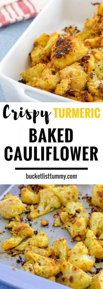 Crispy Turmeric Baked Cauliflower is the perfect appetizer, or fun veggie side dish. With flavors of garlic ad cheese, finished with a soft crunch, you'll never want to prepare cauliflower any other way!